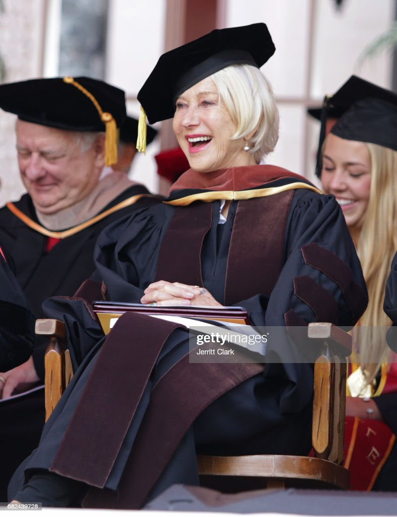 Helen Mirren attends the University Of Southern California 134th Commencement Ceremonies at The Shrine Auditorium on May 12, 2017 in Los Angeles, California.