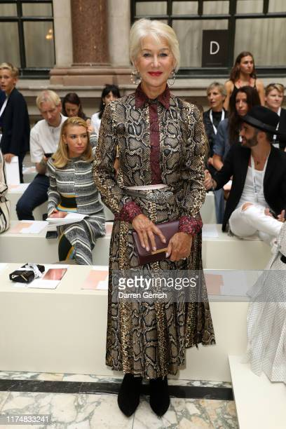 Helen Mirren attends the Victoria Beckham show during London Fashion Week September 2019 at British Foreign and Commonwealth Office on September 15...