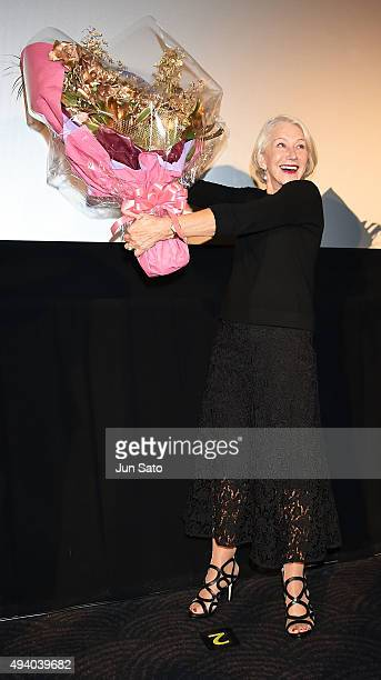 Helen Mirren attends the 'Woman in Gold' stage greeting during the Tokyo International Film Festival 2015 at Roppongi Hills on October 24 2015 in...