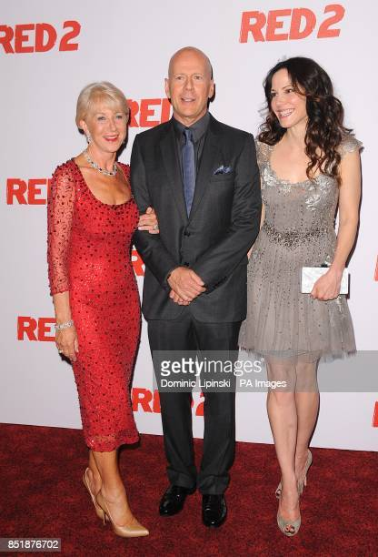 Helen Mirren Bruce Willis and MaryLouise Parker arriving at the UK Premiere of Red 2 at the Empire Leicester Square cinema in London