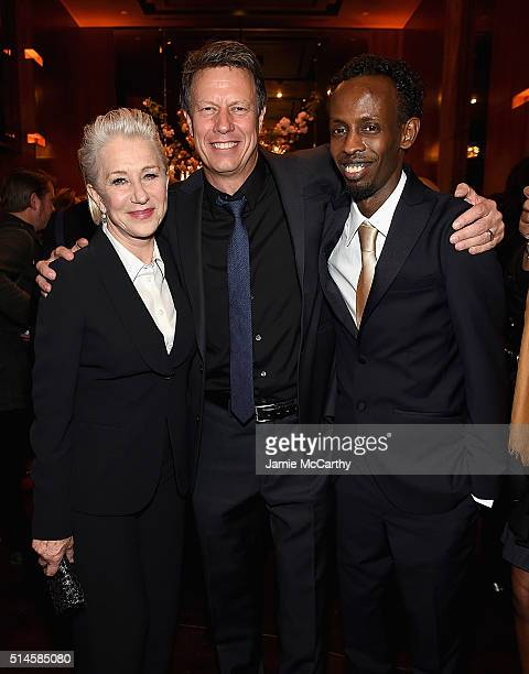Helen Mirren director Gavin Hood and Barkhad Abdi attennd the 'Eye In The Sky' New York PremiereAfter Party at the Parkview Lounge on March 9 2016 in...