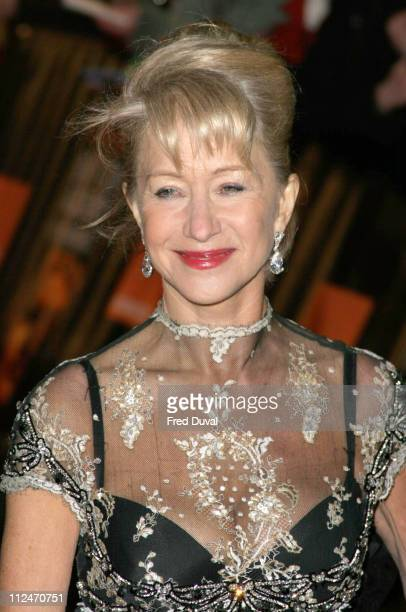 Helen Mirren during BAFTA Film Awards 2005 Arrivals at The Odeon Leicester Square in London United Kingdom