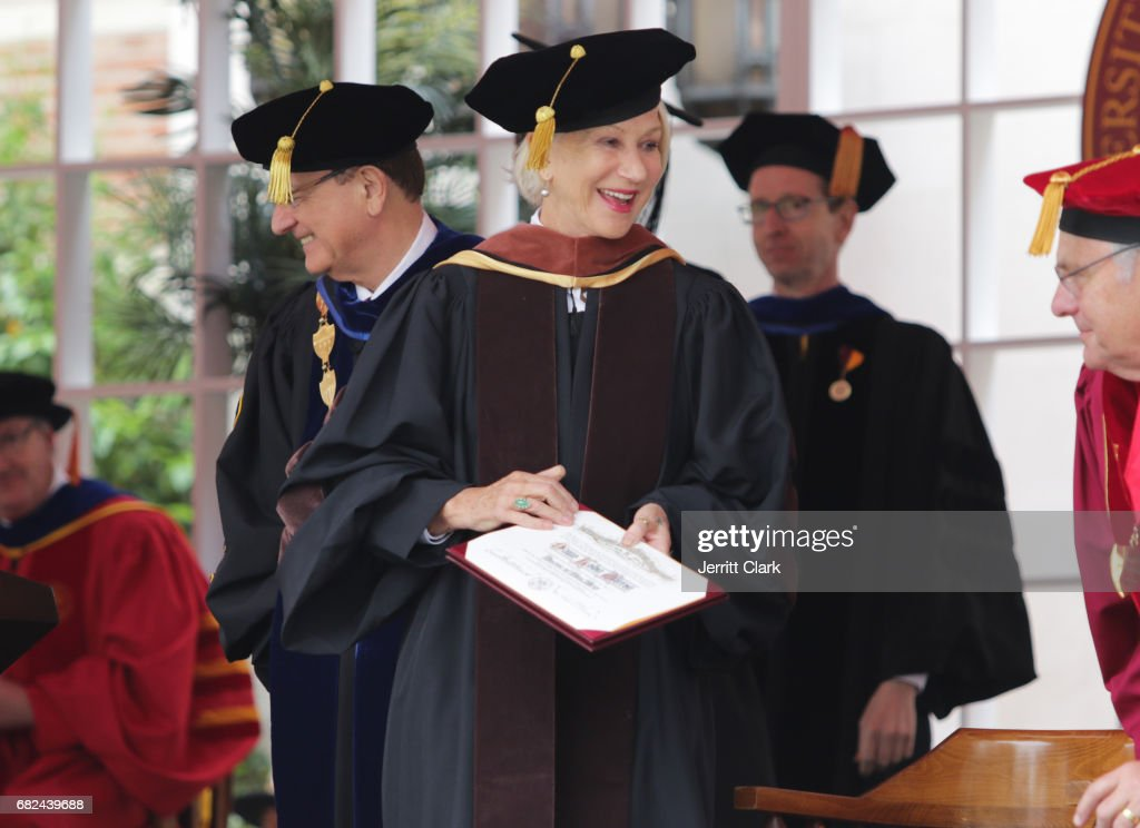 Helen Mirren is presented with an Honorary Doctorate Degree during the University Of Southern California 134th Commencement Ceremonies at The Shrine Auditorium on May 12, 2017 in Los Angeles, California.