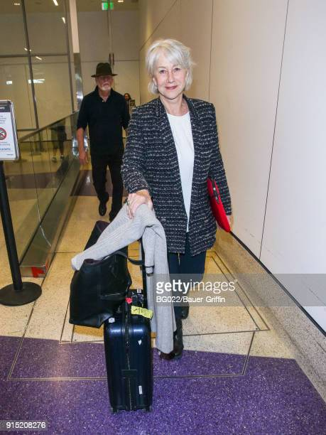 Helen Mirren is seen at Los Angeles International Airport on February 06 2018 in Los Angeles California