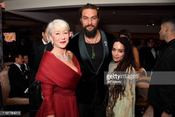 Helen Mirren Jason Momoa and Lisa Bonet attend HBO's Official 2020 Golden Globe Awards After Party on January 05 2020 in Los Angeles California
