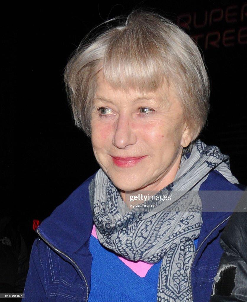 Helen Mirren leaves The Gielgud Theatre on March 21, 2013 in London, England.