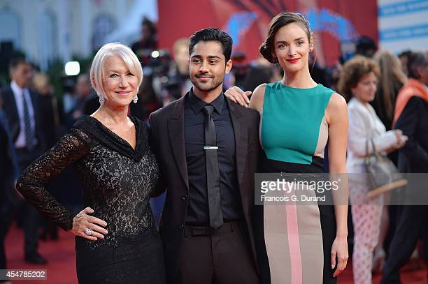 Helen Mirren Manish Dayal and Charlotte Le Bon arrive at the 'Hundred Foot Journey' premiere during the 40th Deauville American Film Festival on...