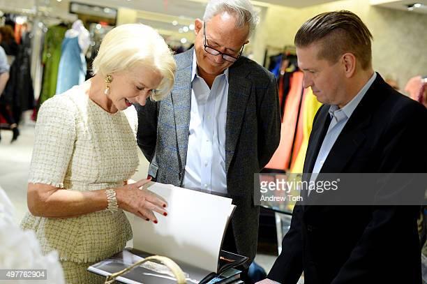 Helen Mirren Mark Badgley and James Mischka attend Badgley Mischka American Glamour book celebration at Bergdorf Goodman on November 18 2015 in New...