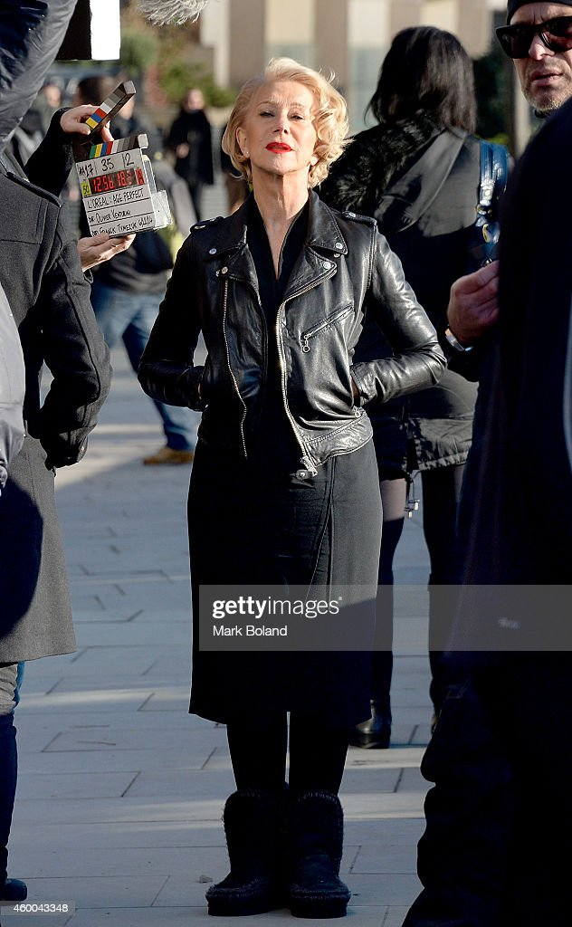 Helen Mirren on set of her first L'Oreal Paris Age Perfect Skincare TV advert in London. Helen wears Age Perfect Skincare and Excellence hair colour on December 6, 2014 in London, England.
