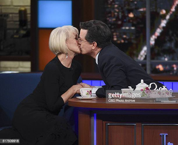 Helen Mirren on The Late Show with Stephen Colbert Tuesday March 8 2016 on the CBS Television Network