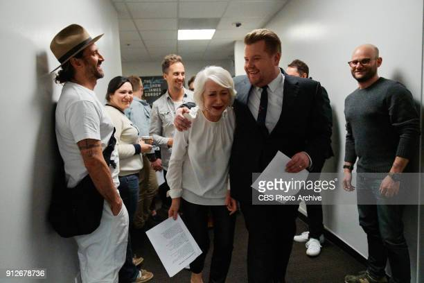 Helen Mirren performs in Drop The Mic with James Corden during The Late Late Show with James Corden Tuesday January 30 2018 On The CBS Television...