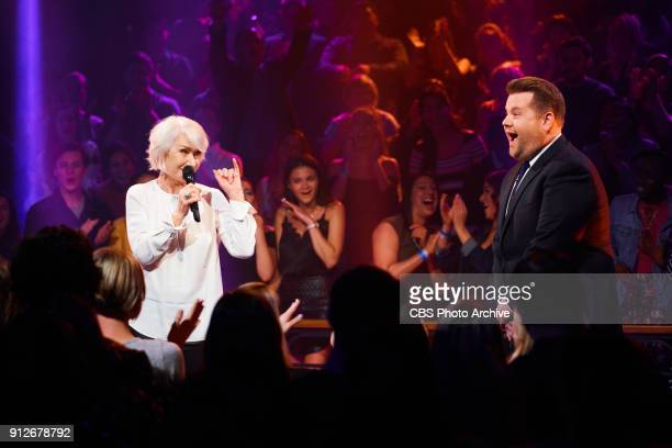 Helen Mirren performs in Drop The Mic with James Corden during 'The Late Late Show with James Corden' Tuesday January 30 2018 On The CBS Television...