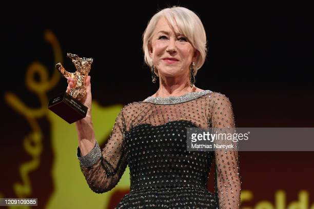 Helen Mirren receives the Honorary Golden Bear at the Homage Helen Mirren Honorary Golden Bear award ceremony during the 70th Berlinale International...