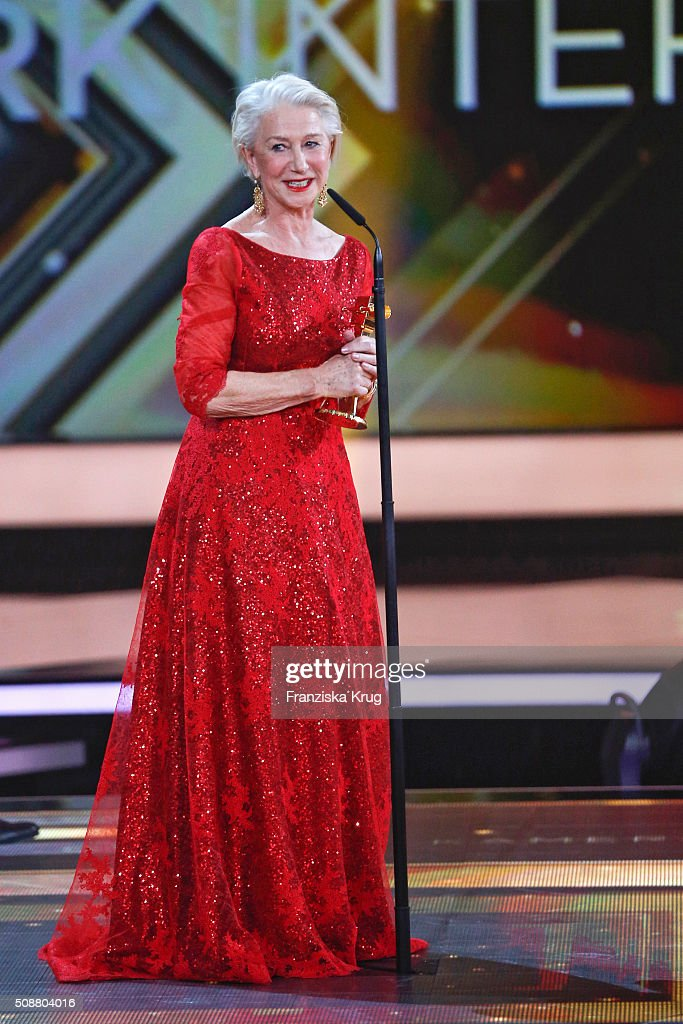 Helen Mirren receives the International Lifetime Achievement award during the Goldene Kamera 2016 show on February 6, 2016 in Hamburg, Germany.