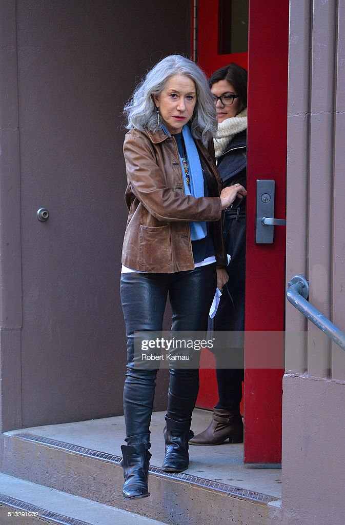 Helen Mirren seen on set of Collateral Beauty on March 1, 2016 in East Village, New York City.
