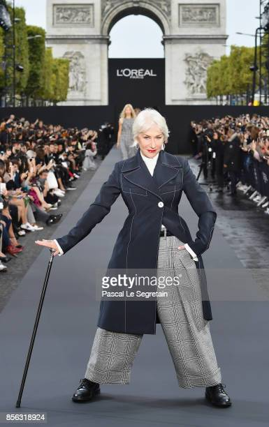 Helen Mirren walks the runway during Le Defile L'Oreal Paris as part of Paris Fashion Week Womenswear Spring/Summer 2018 at Avenue Des Champs Elysees...