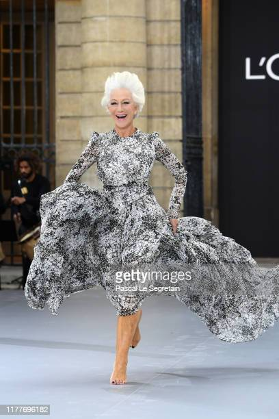 Helen Mirren walks the runway during the Le Defile L'Oreal Paris Show as part of Paris Fashion Week on September 28 2019 in Paris France