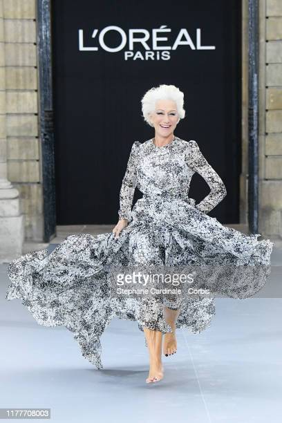 """Helen Mirren walks the runway during the """"Le Defile L'Oreal Paris"""" Show as part of Paris Fashion Week on September 28, 2019 in Paris, France."""
