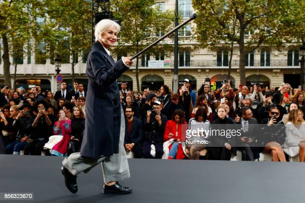 Helen Mirren walks the runway during the Le Defile L'Oreal Paris show as part of the Paris Fashion Week Womenswear Spring/Summer 2018 at the Champs...
