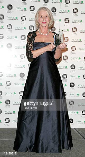 Helen Mirren who won British Actress of the Year during Awards Of The London Film Critics Circle - Media Room at The Dorchester in London, Great...