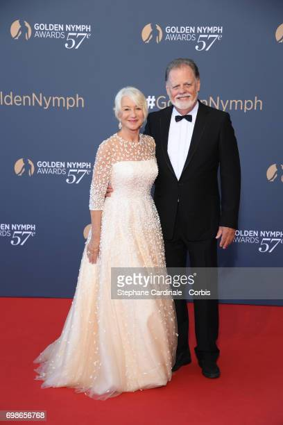 Helen Mirren with her husband Taylor Hackford pose as they attend the 57th Monte Carlo TV Festival Closing Ceremony on June 20 2017 in MonteCarlo...