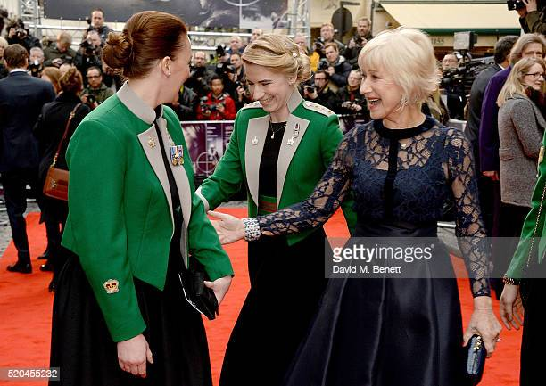 Helen Mirren with millitary personel attending the UK premiere of Eye In The Sky at The Curzon Mayfair on April 11, 2016 in London, England.