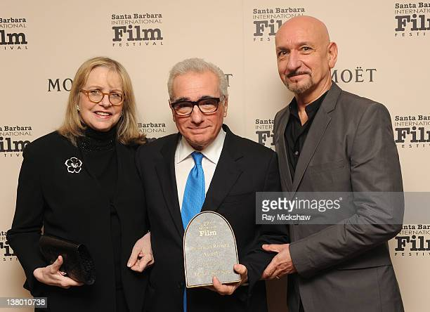 Helen Morris Director Martin Scorsese and Actor Sir Ben Kingsley backstage at the American Riviera Award Tribute to Martin Scorsese held at the...