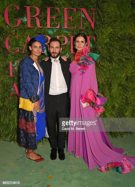 Helen Nonini, Tiziano Guardini and Livia Firth attend the Green Carpet Fashion Awards, Italia, at Teatro Alla Scala on September 24, 2017 in Milan,...