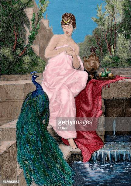 Helen of Troy Wife of Menelaus was abducted by Paris which triggered the Trojan War Engraving after a painting of Maignan Helen in the Fountain The...