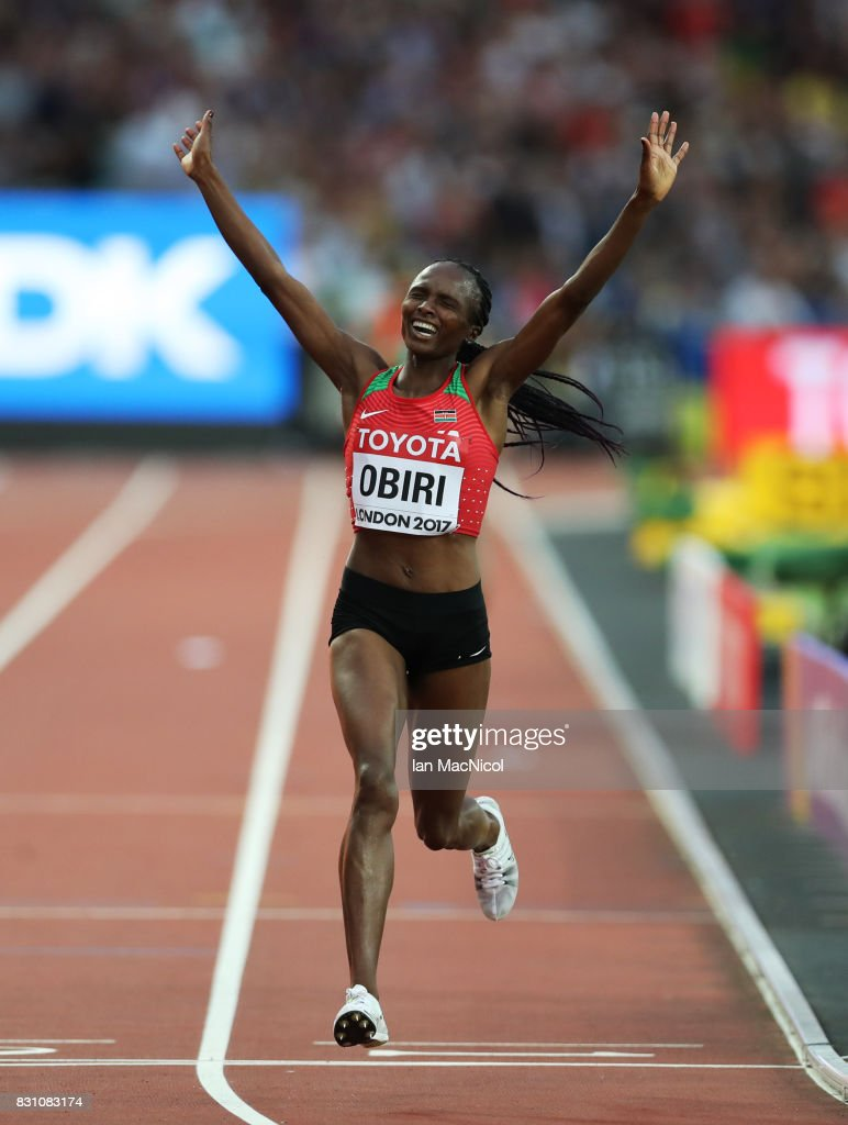Helen Onsando Obiri of Kenya win's the Women's 5000m final during day ten of the 16th IAAF World Athletics Championships London 2017 at The London Stadium on August 13, 2017 in London, United Kingdom.
