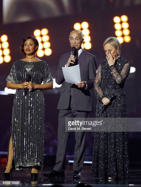 ONLY Helen 'Pepsi' DeMacque Andrew Ridgeley and Shirlie Holliman pay tribute to George Michael on stage at The BRIT Awards 2017 at The O2 Arena on...