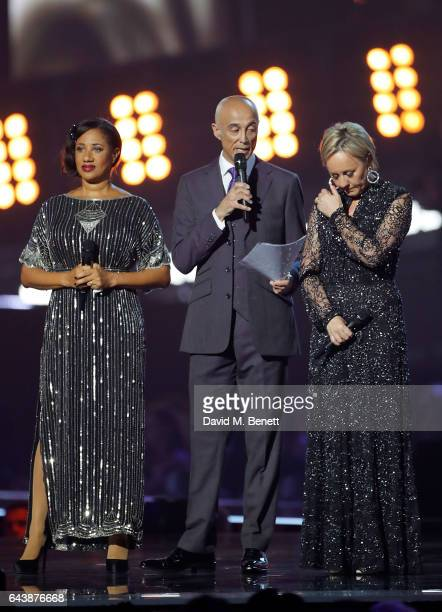 """Helen """"Pepsi"""" DeMacque, Andrew Ridgeley and Shirlie Holliman pay tribute to George Michael on stage at The BRIT Awards 2017 at The O2 Arena on..."""