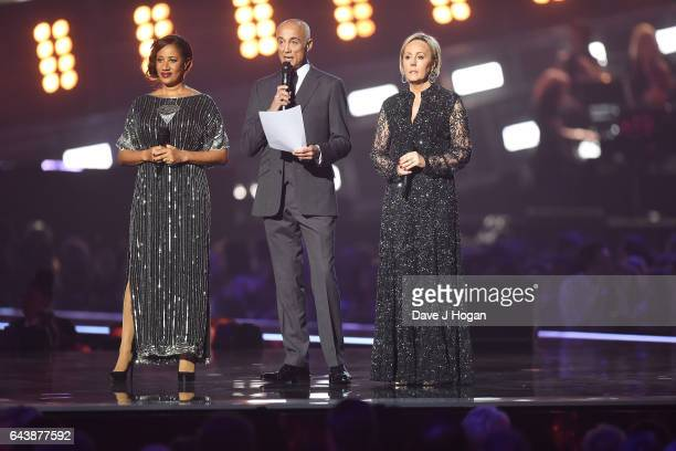 """Helen """"Pepsi"""" DeMacque, Andrew Ridgeley and Shirlie Holliman speak on stage at The BRIT Awards 2017 at The O2 Arena on February 22, 2017 in London,..."""