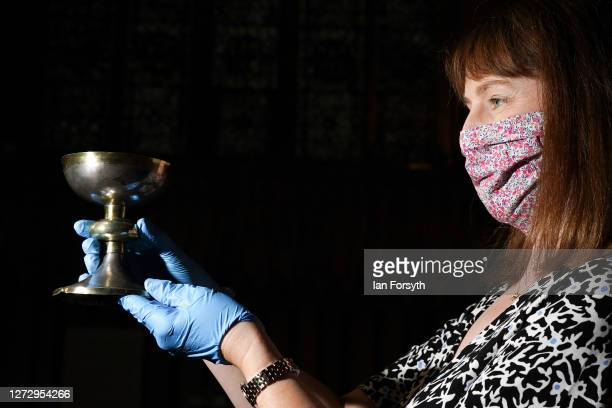 Helen Rawson Head of Heritage at York Minster poses with a silver chalice found in the grave of Archbishop Sewal de Bovill who died in 1258 and which...