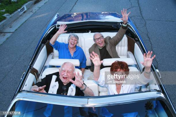 Helen Reddy, Mark Rydell, Marion Ross and Ed Asner pose for a portrait on the set of the comedy Senior Entourage in Los Angeles, California on...