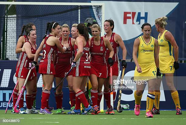 Helen RichardsonWalsh of England is congratulated by her teammates after scoring her side's first goal against Australia during Day 4 of the Hockey...