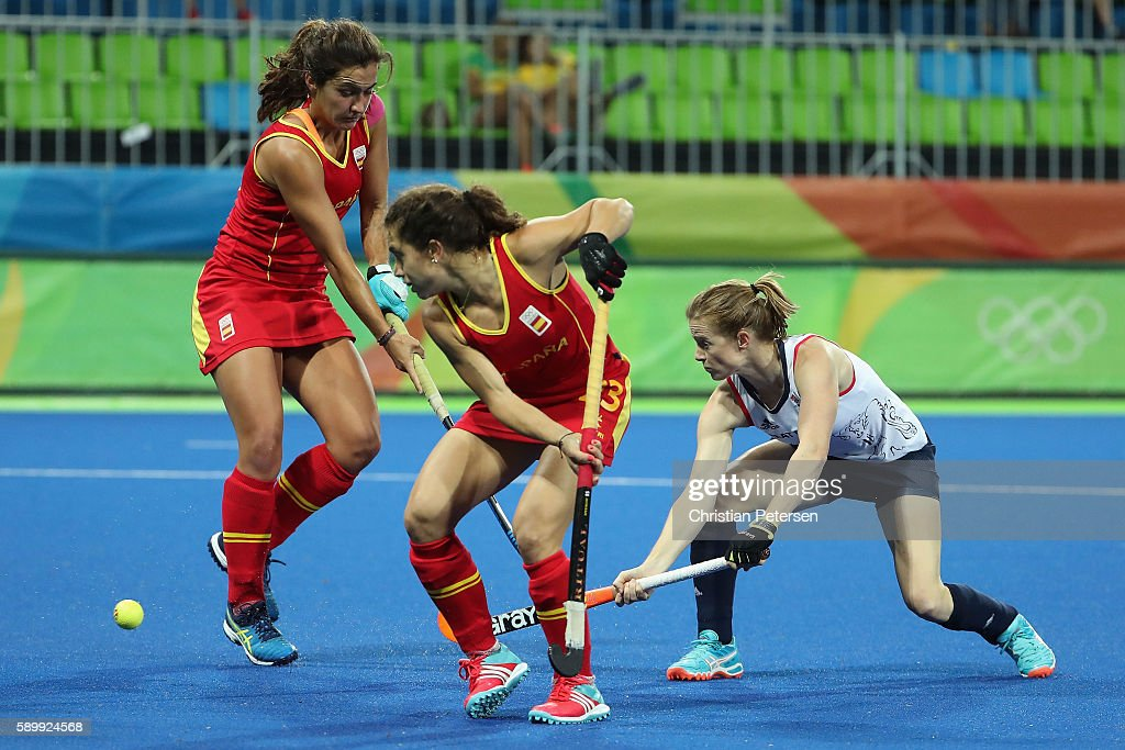 Helen Richardson-Walsh #8 of Great Britain deflects in a first half goal past Georgina Oliva #23 of Spain during the quarter final hockey game on Day 10 of the Rio 2016 Olympic Games at the Olympic Hockey Centre on August 15, 2016 in Rio de Janeiro, Brazil.