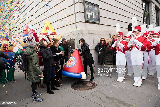 Helen Rosenthal Gale A Brewer and Amy Kule attend the unveiling of the 90th Macy's Thanksgiving day parade plaque on November 21 2016 in New York City