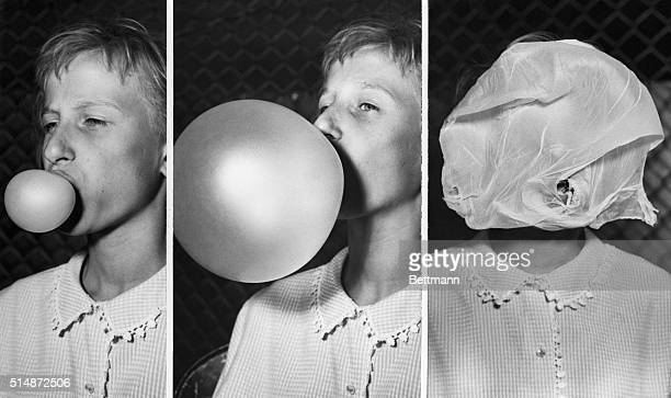 Helen Sasak 12 years old blows a giant bubble until it crashes on her face to win a bubble gum blowing contest in Chicago