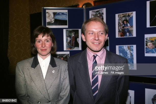 Helen Sharman and Major Tim Mace at the Royal Aeronautical Society in London for their first news conference since returning from Russia and the...