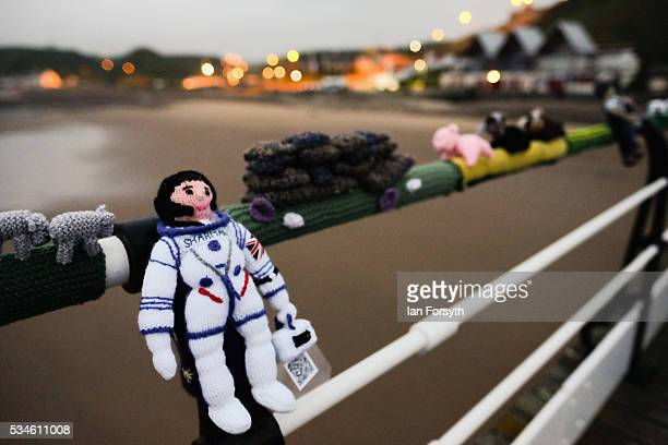 Helen Sharman Britain's first astronaut is depicted by a secretive group of knitters known as the Saltburn Yarn Stormers have left a display of...