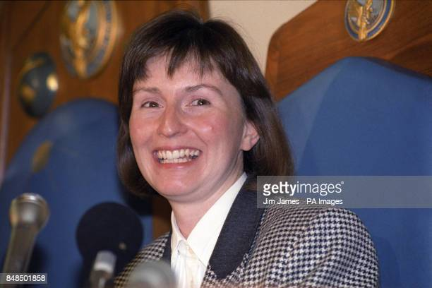 Helen Sharman first Britain in space at a news conference at the Royal Aeronautical Society in London where she was presented with the Geoffrey...