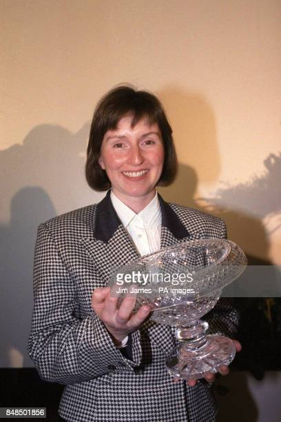 Helen Sharman first Britain in space with a cut glass bowl presented to her by the Royal Aeronautical Society in London