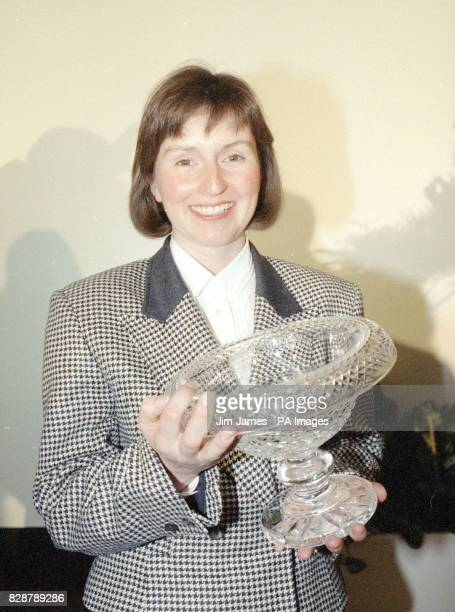 Helen Sharman the first Britain in space with a piece of cut glass she was presented with at the Royal Aeronautical Society in London