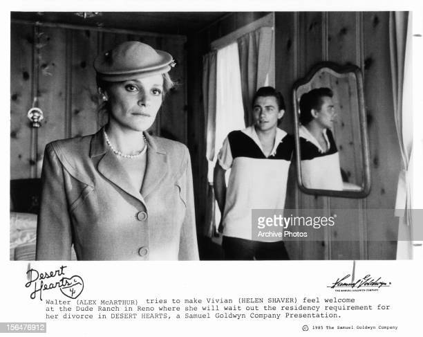 Helen Shaver is welcomed to the ranch by Alex McArthur in a scene from the film 'Desert Hearts' 1985