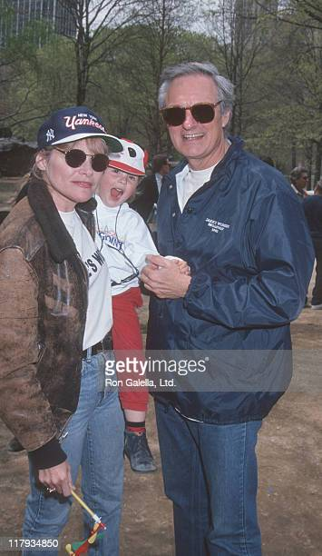 Helen Shaver McKenzie Shaver and Alan Alda during 38th Annual Broadway Stars Softball Game at Central Park in New York City New York United States
