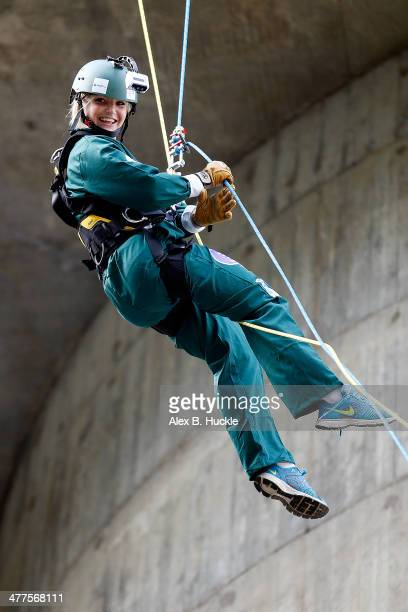 Helen Skelton abseiling down the BT Tower to rasie funds for Sports Relief and the Royal Marines charitable trust on March 10 2014 in London England