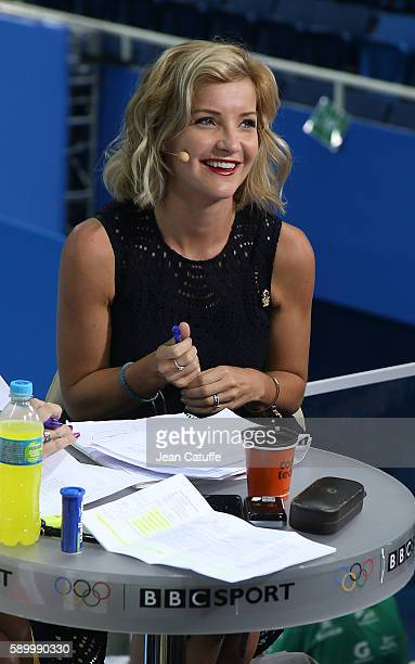 Helen Skelton comments for BBC Sport the swimming competition on day 8 of the Rio 2016 Olympic Games at Olympic Aquatics Stadium on August 13 2016 in...