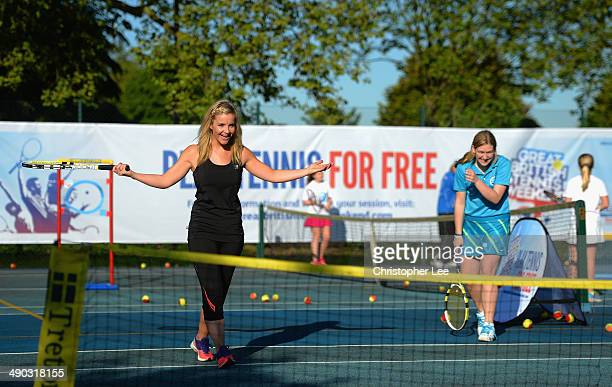 Helen Skelton in action as she plays doubles during The Great British Tennis Weekend Launch at Will to Win Tennis Club on May 14 2014 in Ealing...