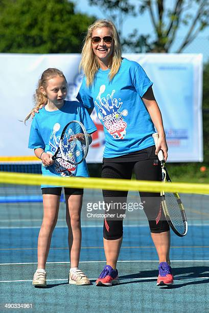 Helen Skelton plays a game of tennis with a young tennis fan during The Great British Tennis Weekend Launch at Will to Win Tennis Club on May 14 2014...